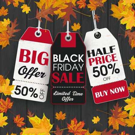 Black wood laths with foliage and black friday price stickers. vector file.