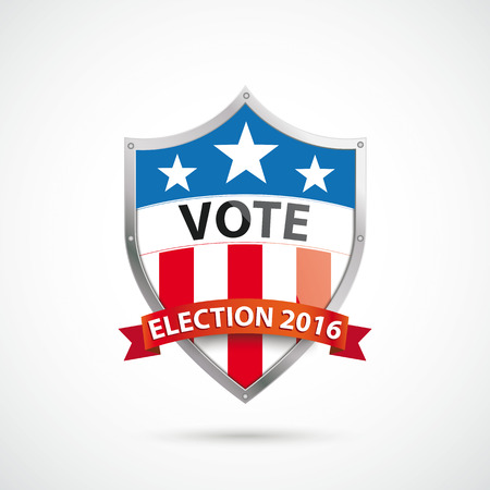 Vote Election 2016 protection shield on the white background. vector file.