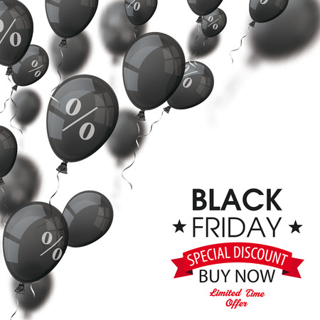 thanks giving: Black balloons with percents with black friday text on the white. vector file.