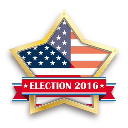 democrats: Golden star with ribbon for election 2016. vector file. Illustration