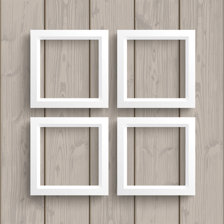 quadrat: White frames on the wooden background. vector file.