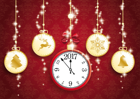 thaler: Golden christmas baubles with symbols and red clock on the red background. vector file.