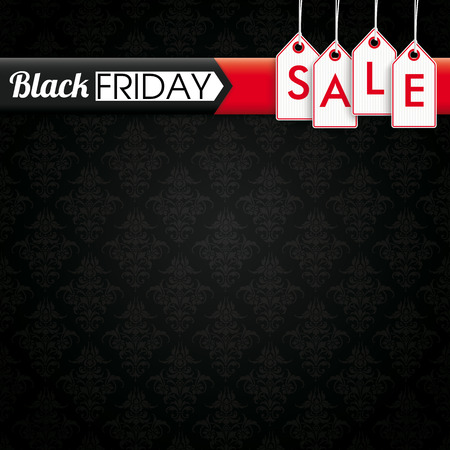 Black Friday banner with price stickers on the black background with ornaments. vector file.