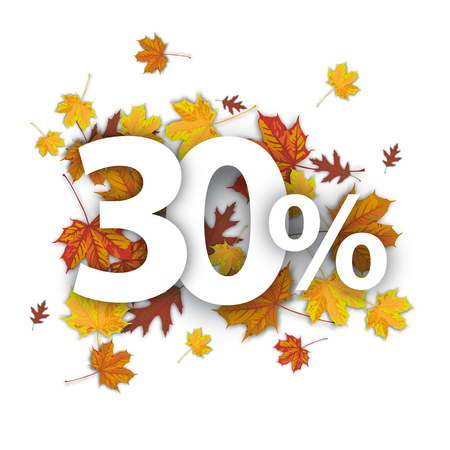 30 with percent and foliage on the white. vector file.