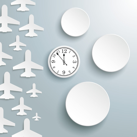 jets: White paper jets with 3 paper circles and a clock on the gray background. vector file. Illustration