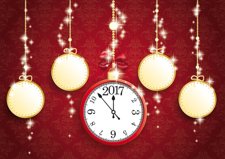thaler: Golden christmas baubles with clock and date 2017 on red background. vector file.