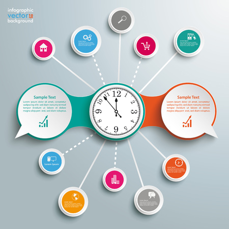 opposing views: Infographic design with clock, speech bubbles and circles on the gray background. vector file.