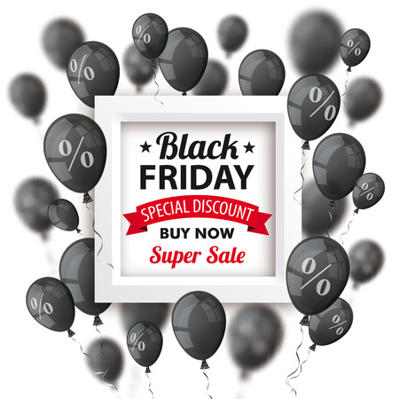 weekday: Black balloons with percents and frame for black friday on the white. vector file.