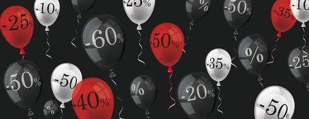 red black: Colored balloons with percents on the dark background. vector file. Illustration
