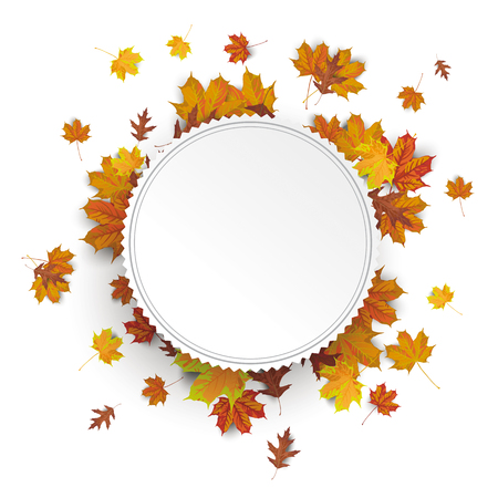 etiquette: White paper etiquette with autumn foliage on the white background. vector file.