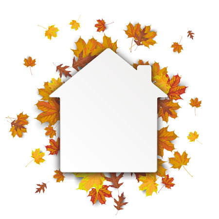 p buildings: Paper house with autumn foliage on the white. vector file.