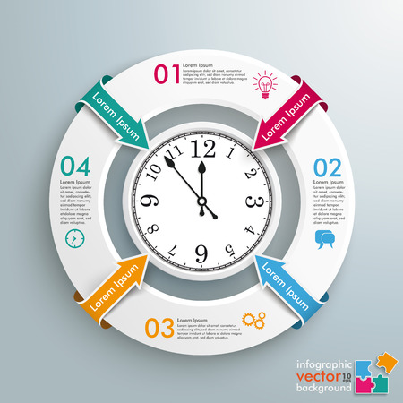 Infographic with white ring and a clock on the gray background. vector file.. Illustration