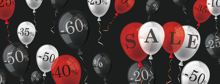 Colored balloons with percents and text Sale on the dark background. vector file.