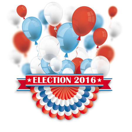 Balloons with US bunting, and ribbon for Election 2016. vector file.