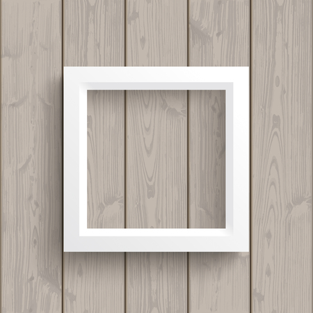 quadrat: White frame on the wooden background. vector file.