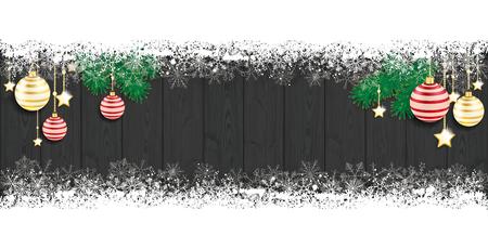 Tarjeta de Navidad con copos de nieve y las chucherías en la nieve. archivo vectorial. Ilustración de vector