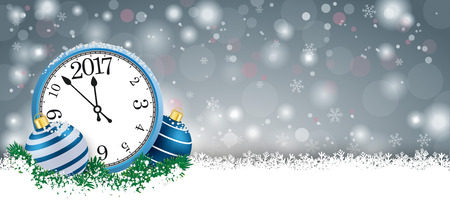white winter: Gray christmas card with blue baubles and blue clock on the snow. vector file. Illustration