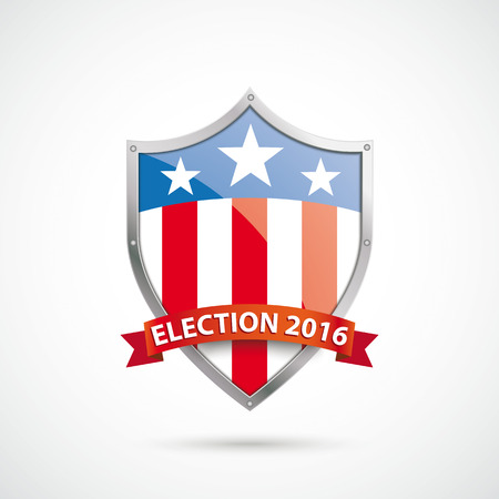 Election 2016 protection shield on the white background. vector file.