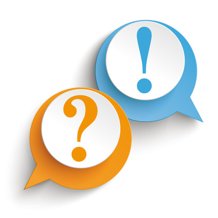 Two speech bubbles with question and answer on the white background. vector file. Vectores