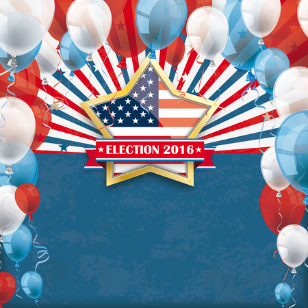 Vintage background with golden star, US flag, balloons and retro sun. vector file.