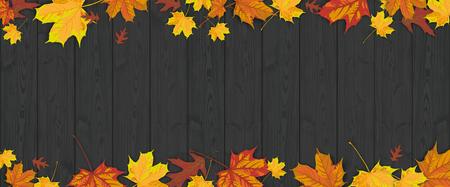 Follaje de otoño en el fondo de madera oscura. Archivo vectorial. Ilustración de vector