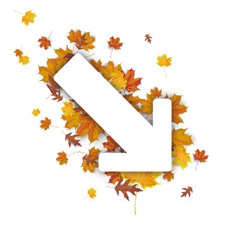 White paper arrow with autumn foliage on the white. vector file. Illustration