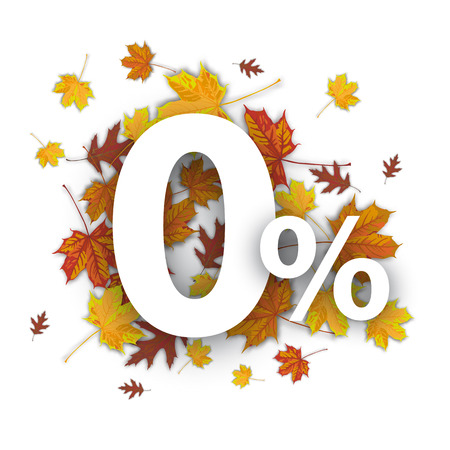percent: Zero with percent and foliage on the white. vector file.