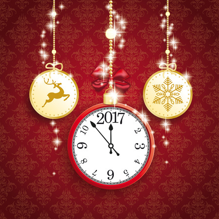 thaler: Christmas baubles with clock and date 2017 on the red background with ornaments. vector file.