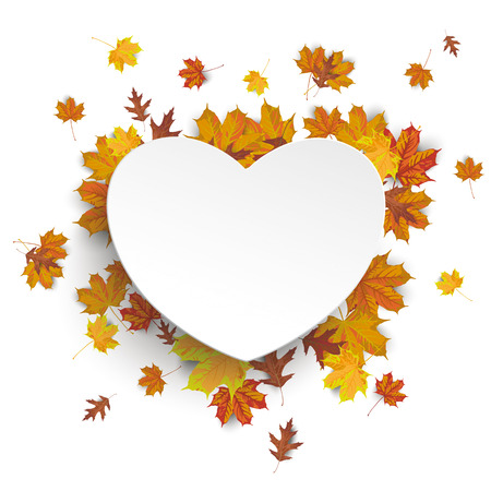 White paper heart with autumn foliage on the white background. vector file.
