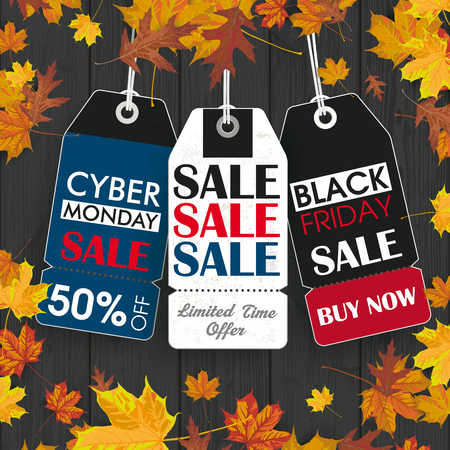 Black friday and cyber monday price stickers on the wooden background. vector file. Illustration