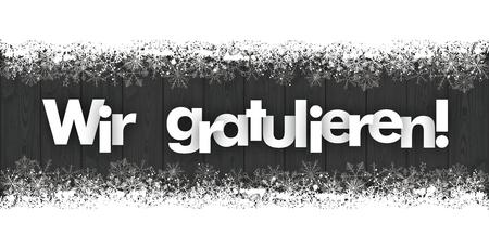 """Niemiecki tekst """"Wir gratulieren"""" przetłumaczyć """"my gratulacje"""". plik wektorowy. Ilustracje wektorowe"""