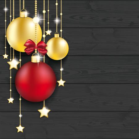 Bolas de Navidad en el fondo de madera. archivo vectorial.