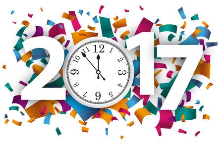 Confetti with text 2017 und white clock. vector file.
