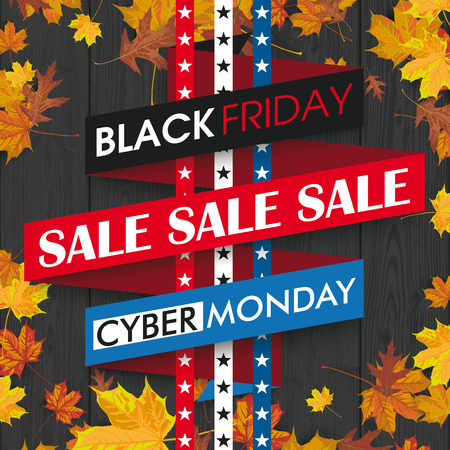 monday: Black friday and cyber monday ribbon on the wooden background. vector file. Illustration