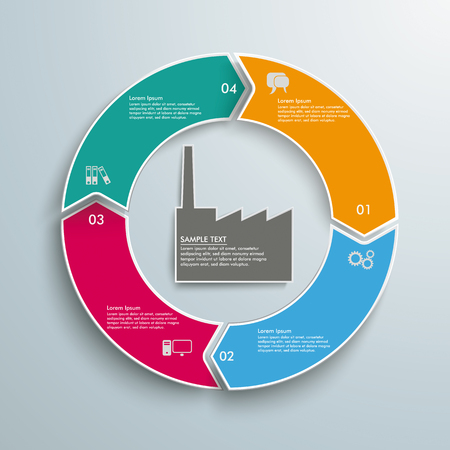Colored ring with industry building on the gray background. Eps 10 vector file.