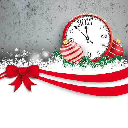 bowknot: Christmas card with red ribbon, snow, clock, baubles and concrete wall. Eps 10 vector file.