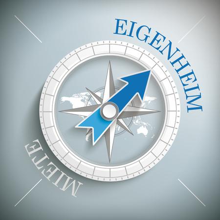 reside: German text Eigenheim, Miete, translate Property Ownership, Rent. Eps 10 vector file. Illustration