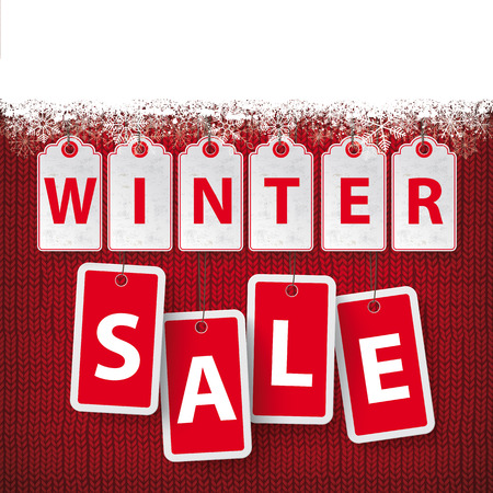 Price stickers with text Winter Sale with snow on the knitting fabric background. Eps 10 vector file.