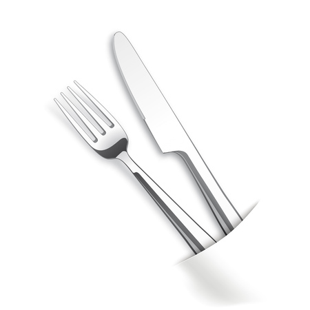 silverware: Silverware with white napkin on the table. Eps 10 vector file.