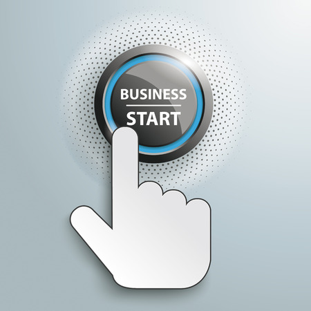 starting: Hand cursor and button with text Business Start. Eps 10 vector file.