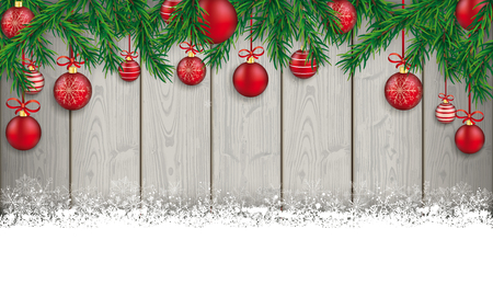 Christmas card with snowflakes, twigs and baubles on the wooden background. Eps 10 vector file.