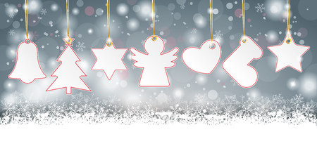 Gray christmas card with christmas stickers on the snow. Eps 10 vector file. Illustration