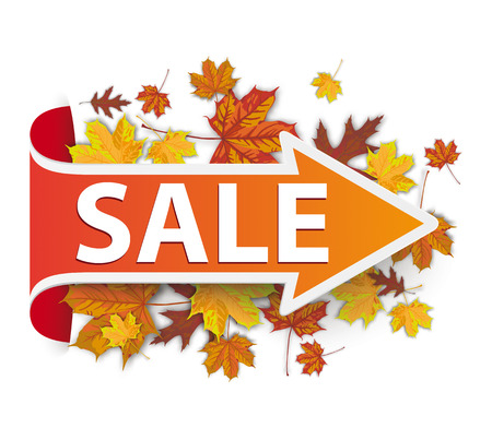 Arrow with autumn foliage and text Sale. Eps 10 vector file. Illustration