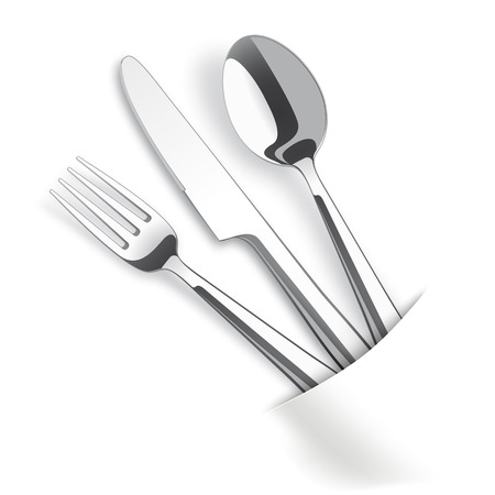 napkin: Silverware with white napkin on the table. Eps 10 vector file.