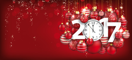 watch new year: Red christmas card with hanging red baubles, clock and date 2017. Eps 10 vector file.