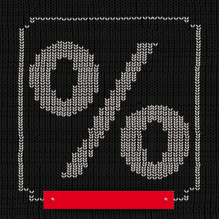 percent: Black knitted with white symbol of percent, white frame and red banner. Eps 10 vector file.