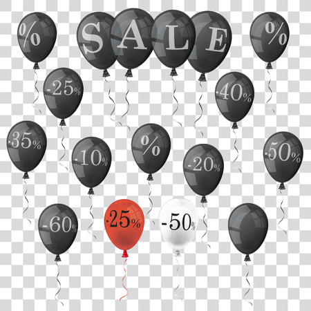 weekday: Colored and transparent balloons with numbers and percents. Eps 10 vector file.