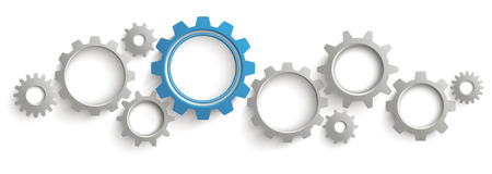 employe: Infographic header with gray and blue gears on the white background. Eps 10 vector file.