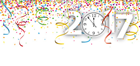 watch new year: Colored confetti with ribbons, clock and date 2017 on the white. Eps 10 vector file. Illustration