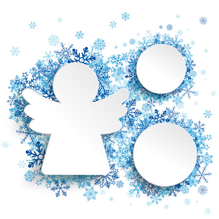 offering: Christmas paper angel and 2 circles with blue snowflakes on the white background. Eps 10 vector file. Illustration